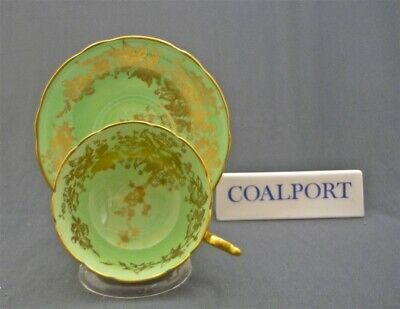 Wide Coalport England Green & Gold Leaves & Flowers Tea Cup & Saucer Duo Set