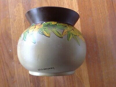 E.G. Greenway hand decorated pottery vase Besley Potter
