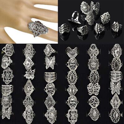 10/50pcs Wholesale Bulk Jewelry Mixed Lots Tibet Silver Vintage Style Rings Gift