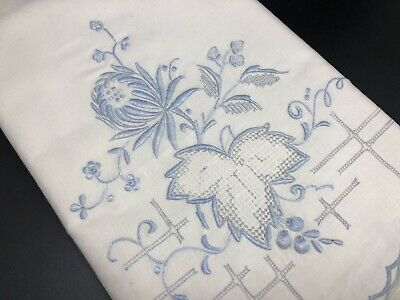"""VTG Blue White Floral Embroidered 22x36"""" Set of 2 Cotton Pillowcases (RF946)"""