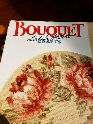"VTG BOUQUET CHINTZ  Rose Latch Hook Kit 231 NEW  NIB round 34"" beautiful craft"