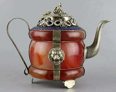 Collect Tibet Silver Cloisonne Inlay Agate Carved Dragon & Monkey Noble Tea Pot