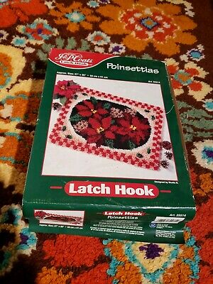 "VTG NEW XMAS Latch Hook Rug Kit J&P Coats Poinsettia 27""x20"" Christmas"