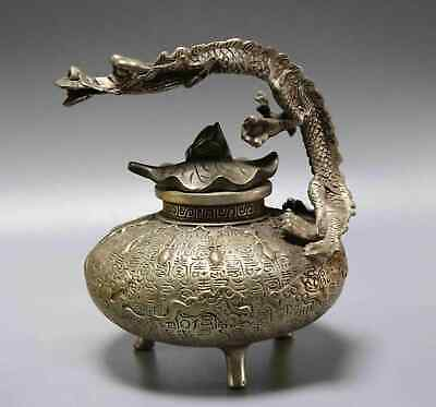 Collect China Antique Tibet Silver Hand Carve Dragon & Lotus Leaf  Noble Tea Pot