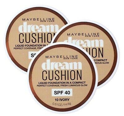 3 X MAYBELLINE 14.6g DREAM CUSHION FOUNDATION 10 IVORY - NEW