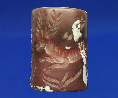 Beautiful Agate Stone Intaglio Cavalry Hunt Deer Rolling Stamp Tube Bead BCB99
