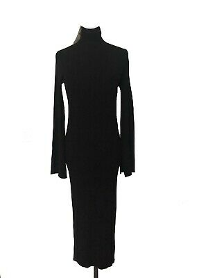 b607e717 Zara Knit Women's Black Ribbed Bodycon Maxi Dress Bell Sleeves NWT Size M  Black