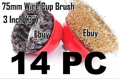 """14 Wire Cup Brush 3"""" (75mm) for 4-1/2"""" (115mm) Angle Grinder Twist Crimped"""
