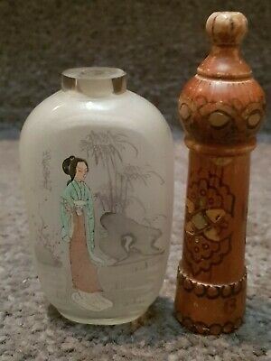 Glass Chinese Scent  Bottle - Painted Oriental Scene-Timber  French Scent Bottle