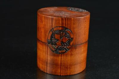 S4404: Japanese Wooden Bamboo pattern TEA CADDY Chaire Container Tea Ceremony
