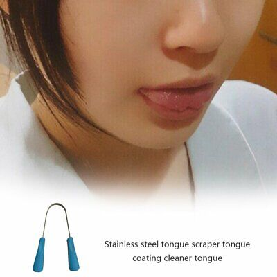 Stainless Steel Tongue Scraper Cleaner Fresh Cleaning Coated Tongue Care ToolsMU