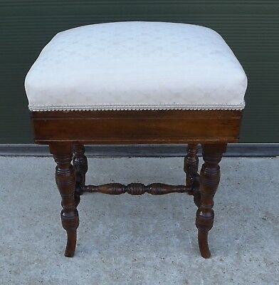Antique Victorian Adjustable Oak Piano Stool with Upholstered Top