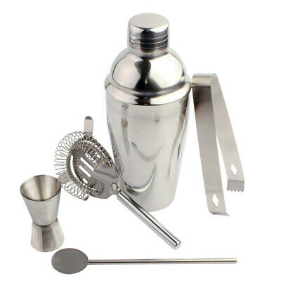 5pcs Silver Practical Stainless Steel Cocktail Shaker Set for Kitchen Bar Home