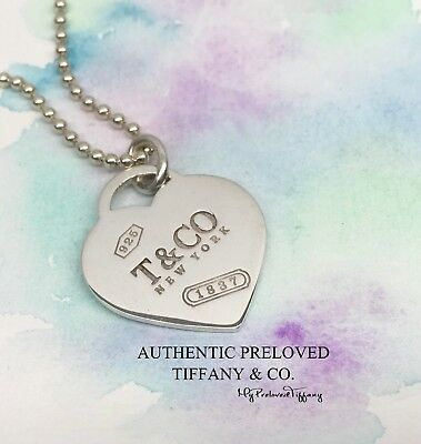 Excellent Authentic Tiffany & Co 1837 XL Heart Tag Necklace Silver Rare