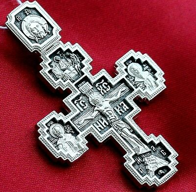 Large Russian Greek Orthodox Crucifix ,Silver 925. Mother Of God Sign And Saints