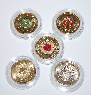 5 $2 coins Red & Gold poppy, Purple Coronation, Red & Green Anzac  UNC
