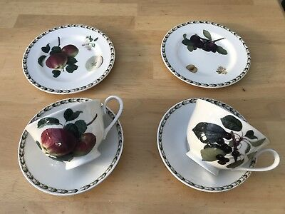 2 sets Queens Hookers Fruit teacup Saucer tea plate Royal Horticultural Society