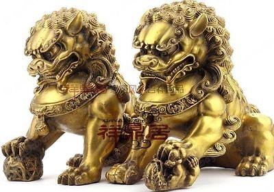 Chinese Classic copper Big lion guard pair fenshui foo Dog Statues height 20cm