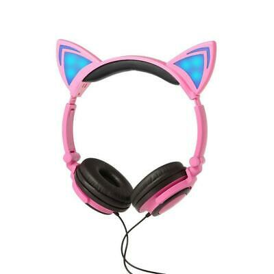 Foldable Headphones Cat Ear LED Music Lights Gaming Headset Stereo LOT JL