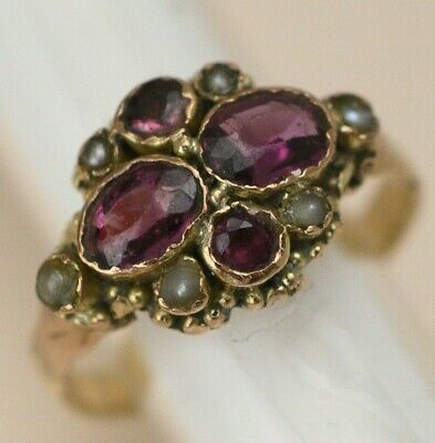 Antique Victorian 9k 9ct Gold Amethyst Seed Pearl Cluster Sz 8 Ring