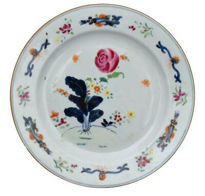 Antique Qianglong 18Th Century Chinese Porcelain Plate Famille Rose