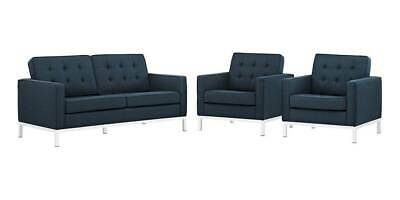3-Pc Upholstered Living Room Set in Azure [ID 3799243]