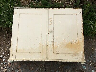 "Antique Painted Pine Cupboard, Bookcase 39""w Double Door. ""as Found"""