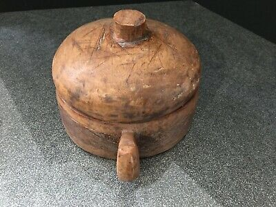 Hand Carved Wooden Bowl With Lid - Serious Damage