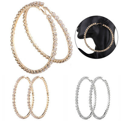 New Pair Of Big Gold Plated Hoop Earrings Large Circle Creole Chic Hoops Gift