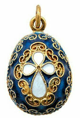 Russian silver and 24 ct gold-plated egg pendant with cross and blue enamel