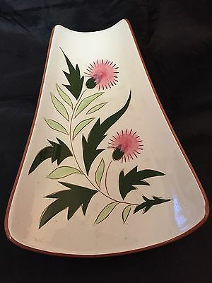 """Vintage STANGL Thistle 11-3/8"""" Relish Plate Green Pink Flowers"""