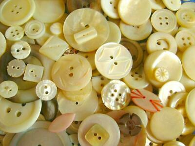 LARGE Lot 330 Vintage MOTHER OF PEARL Buttons MOP MIX SIZES Wedding incs CARVED