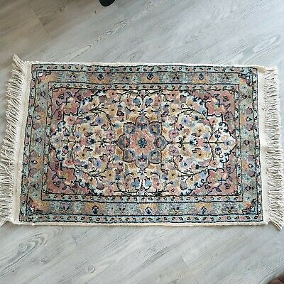 """Old Traditional Hand Made Pakistan Oriental Wool Blue, Grey & Pink Rug 24"""" x37"""""""