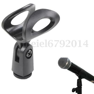 Flexible Microphone Clip Holder Mount Mic Stand Clamp Accessory Plastic Black