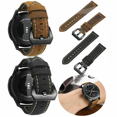 Nylon Genuine Leather Watch Band Strap For Samsung Galaxy Watch 42mm 46mm