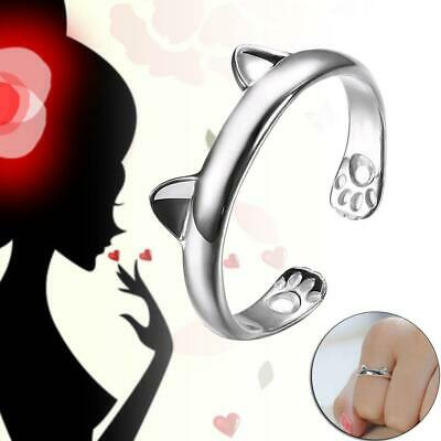1x NEW Lovely KITTY CAT EARS RING Silver Tone Cute Animal Quirky Indie GIFT  JL