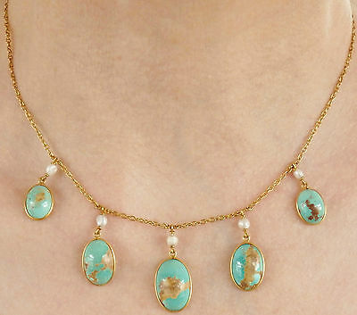 Fine Antique Victorian Arts & Crafts 15ct Gold Turquoise & Pearl Necklace c1885