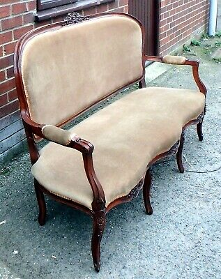 Edwardian antique Rococo solid carved walnut 3 seater salon canape sofa settee