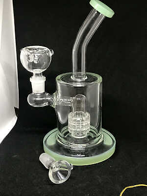 "9"" inch Heavy Hookah Water Pipe Bong Honey Comb Smoking Bubbler Bent 14mm Glass"