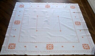 Vintage Large Hand Embroidered Art Deco Pattern Linen Tablecloth