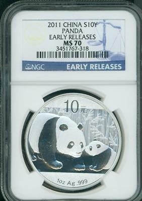 2011 CHINESE SILVER PANDA NGC MS70 CHINA 10Y Yuan EARLY RELEASES ER S10Y