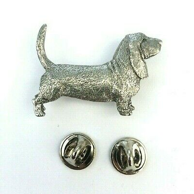 Basset Hound Brooch Pin Badge in Copyrighted Antiqued Pewter - Basset Gifts