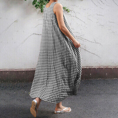 Plus Size Womens Linen Check Baggy Swing Dress Ladies Sleeveless Dress 8C