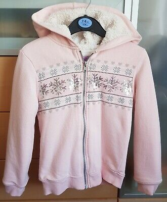 8-9 Years Pink Fluffy Lined Zip Front Hoodie