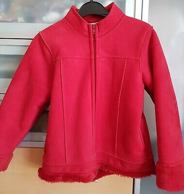 NEXT 8yrs Girls Red Zip Front Jacket Coat Furry Lined