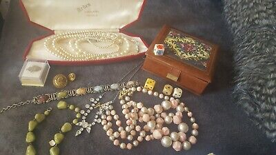 Job Lot Of Old & Vintage Jewellery Arden Pearls Boxes Dice Button Necklaces