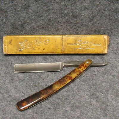 "Griffon XX 92 Carbo Magnetic Straight Razor 6-1/4"" Mottled Celluloid Handle Vtg"