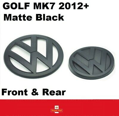 VW Golf MK7 VII Matte Black Front Grille & Rear Boot Badge Set Matt 2012+ Onward