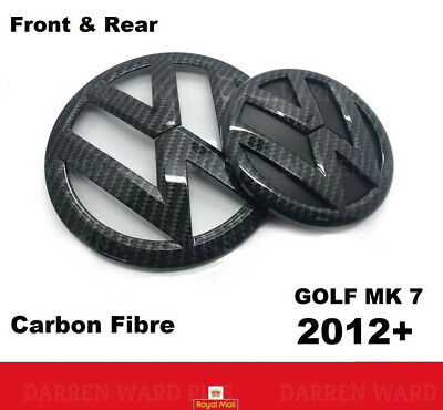 VW Golf MK7 VII Carbon Fibre Front Grill & Rear Boot Badge Set Fiber 2012 - 2017