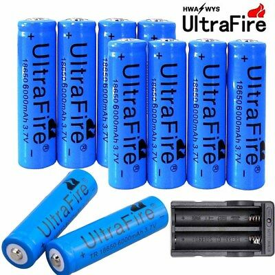 10x 6000mAh 18650 3.7V Batteries Li-ion Rechargeable Battery For Flashlight #